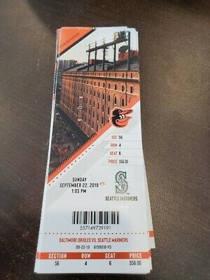 Baltimore Orioles Seattle Mariners MINT Season Ticket 9/22/19 2019 MLB Stub
