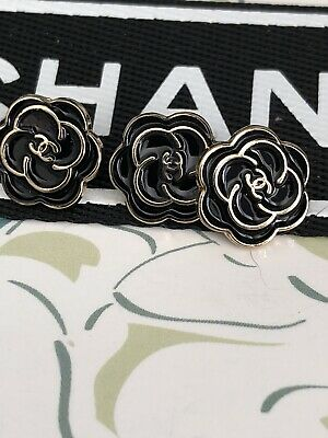 3 Chanel Camellia Flower Buttons 10mm CC Logo Black Gold Sweater Blouse Top