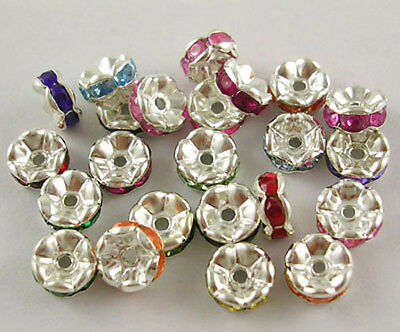 10 Spacer Beads Rhinestone Spacers Acrylic Assorted Colors Silver 7mm