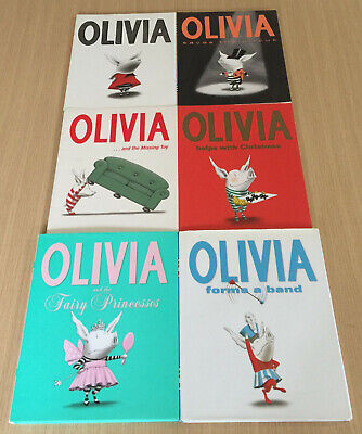 6 x Ian Falconer - OLIVIA Books - Circus, Missing Toy, Christmas, Fairy, Band