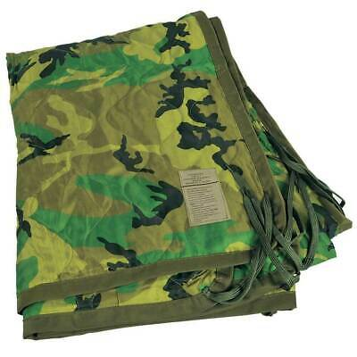 USGI Military Spec All Weather Poncho Liner Woobie Blanket in Woodland Camo EXCE