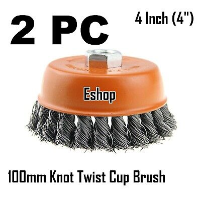 """2 x 4"""" Wire Cup Brush Wheel for 4-1/2"""" Angle Grinder 5/8-11 Twist Knot Hoteche"""