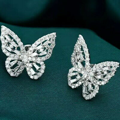 1Ct 100% Natural Diamond 14K White Gold Butterfly Cocktail Earrings EU24