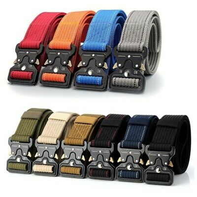 Men's Military Tactical Waistband Outdoor Sports Nylon Canvas Web Belt Strap AU
