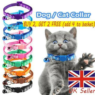 Cat Collar Safety Release Cute Paw Print Adjustable Kitten Collar Bell Cats UK