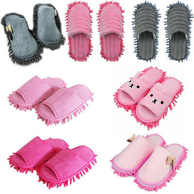 Pair Mop Slippers Lazy Floor Foot Socks Shoes Quick Polish Cleaning Dust Remover