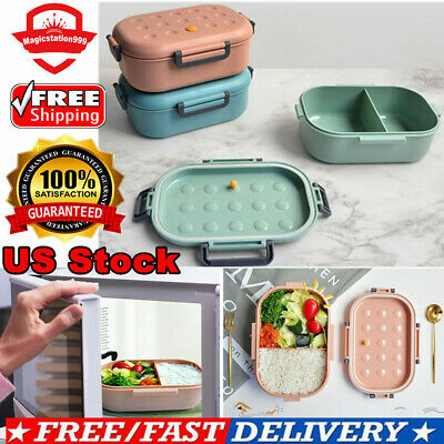 Durable Bento Box Leakproof Two Part Divided Food Storage Container Lunch Box US