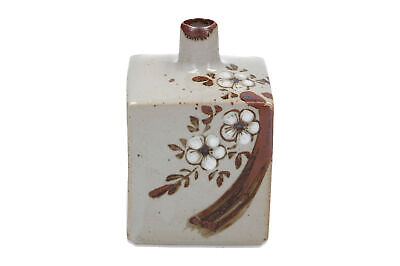 A square oriental pottery vase Hand painted floral decoration