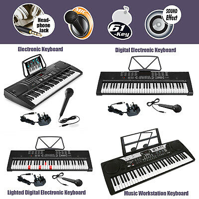 61 Key Digital Electronic Keyboards MP3 Music Piano Instruments Mic Stand Stool