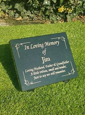 Personalised Black Granite Memorial Grave Plaque Stone Any Name Wording Included