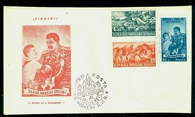 1951 STALIN,Pioneers,Camp,Tent,Forest,Boat,Scouts,Pfadfinder,Romania,Mi.1259,FDC
