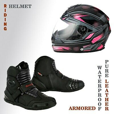 Motorcycle Riding Black Boots Leather Waterproof Sun Visor Sports Safety Helmets