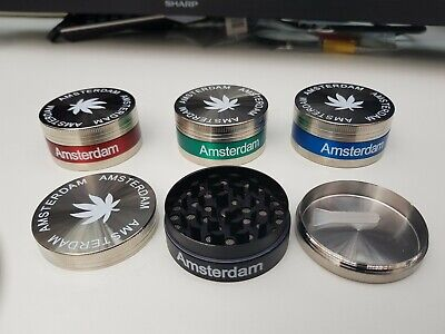 AMSTERDAM METAL GRINDER MAGNETIC 50mm CRUSHER TOBACCO LEAF 3 PART Strong Teeth