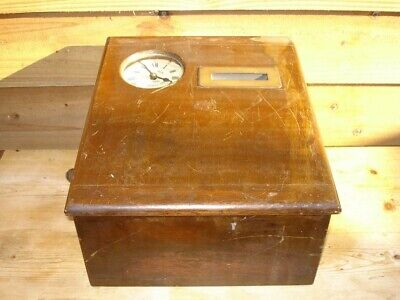 Vintage Clocking In Clock Gledhill-Brooks Tabletop Time Recorder, Mahogany & Oak