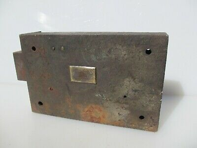 Large Victorian Iron Door Lock Brass Plate Prison? Antique Old NO KEY 4.6kg