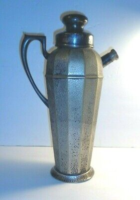Apollo Epns  Bernard Rice & Son: Hammered Silverplate Cocktail Shaker. As-Is