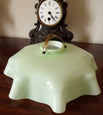 Vintage French Art Deco Pleated Glass Light Shade & Brass Gallery / Light Green