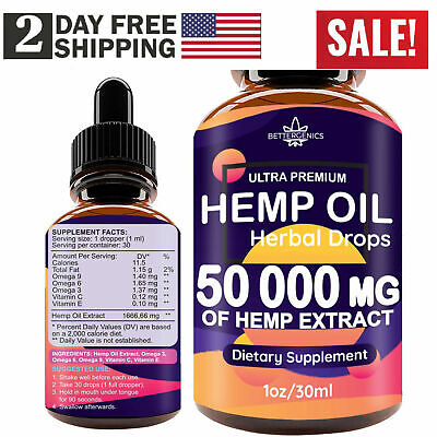 Best Hemp Oil Extract for Pain Relief, Stress, Sleep (PURE & ORGANIC) - 50000 mg