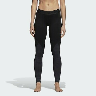 adidas Womens Alphaskin Sport Long Crew Climawarm Tights Black Active CY2246