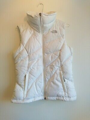 Ladies The North Face Gilet Size Small UK 8 10 White Bodywarmer 550 Down Puffer