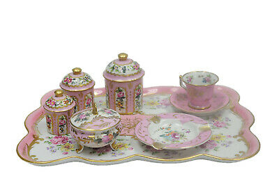 Antique French Vicennes Dresser Tray Set  Ashtray Pink & Gold