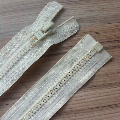 """CREAM CHUNKY PLASTIC OPEN END ZIP -22""""/ 56 CM BEST QUALITY (No 5 weight)"""