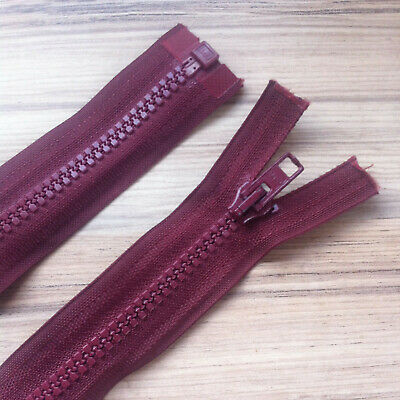"""BURGUNDY CHUNKY PLASTIC OPEN END ZIP -22""""/ 56 CM BEST QUALITY (No 5 weight)"""
