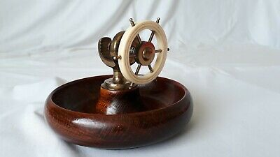 Vintage Brass Nut Cracker on Turned Wooden Bowl - Ships Wheel Nautical