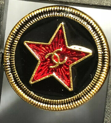 Chanel CC Logo Button Red Star 20mm .79 Inches Gold Black Enamel SET OF 2