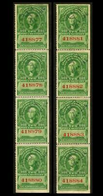 R248 REVENUE Documentary $100 WASHINGTON 2 Strips Of Four W/Sequential #'s BX-26