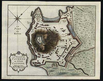Cayenne French Guyana South America 1774 engraved city plan hand color