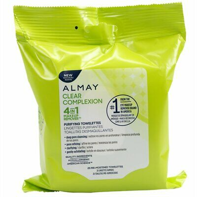 7 Pack Almay Face Makeup Remover Towelettes, 25/Pack Clear Complexion lot of 7