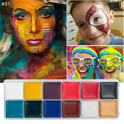 12 Colors Face Body Paint Oil Painting Art Make Up Set Kit Halloween Party