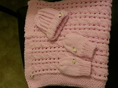 hand-knitted beautiful baby blanket +hat+mittens(pink)