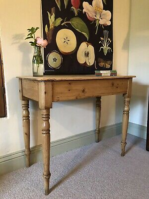 ANTIQUE PINE Small Kitchen, Hall, Side, Serving Or Console TABLE Scrub Top.