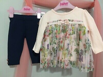 Baby Girls Designer Ted Baker Floral Pleat Outfit Top Leggings 3-6m🎀