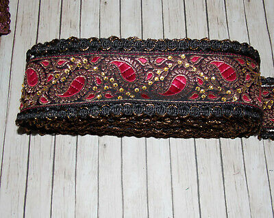6cm black wine gold paisley crystal embroidered ribbon BRAID applique trimming