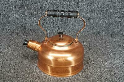 "Copper Tone Teapot W/ Wood Handle 9"" Made In Taiwan"