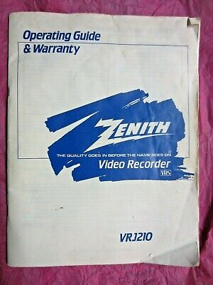 Zenith VCR VRJ210 Owners Manual
