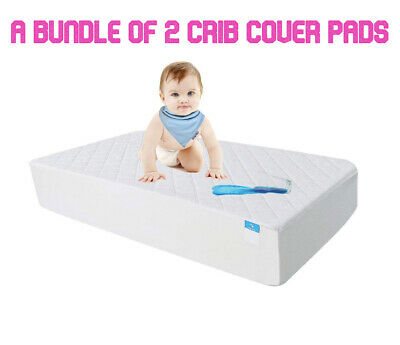 Waterproof Hypoallergenic Fitted Crib Toddler Mattress Protector Pad Cover 2 Pk