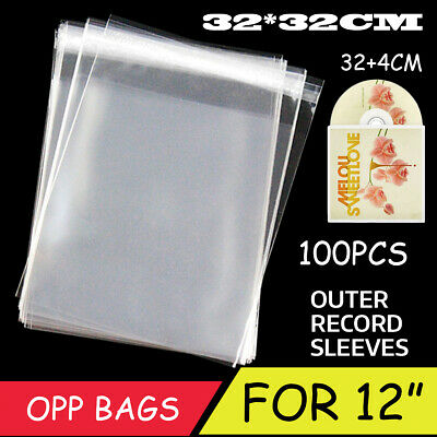 100PCS Antistatic Clear Outer Plastic Cover Ssleeves For 12'' LP LD Vinyl Record