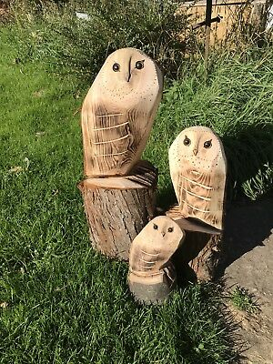 3x Owls (S M L)Chainsaw Carving Carved Owl Garden Decoration Natural Wooden