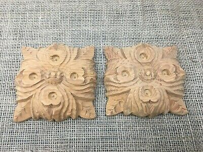 Pair Hand Carved Solid Wooden Ornate Classical Patera
