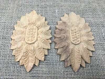 Large Pair Hand Carved Solid Wooden Ornate Oval Classical Medallion