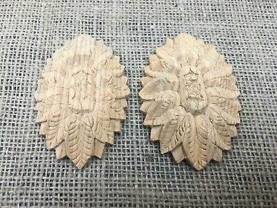 Small Pair Hand Carved Solid Wooden Ornate Oval Classical Medallion