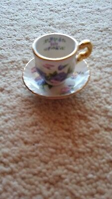 Miniature Blue Waters, England, Staffordshire-Fine Bone China 'July' Floral Cup