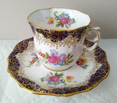 Hammersley Bone China England Cobalt Blue and Floral Tea Cup and Saucer A469