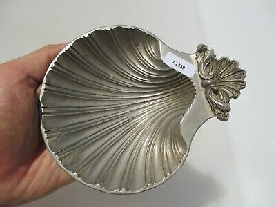 Victorian Brass Soap Dish Holder Pot Silver Plated ESPN Shell Antique Old