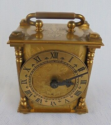 SMITHS ELECTRIC CARRIAGE CLOCK - ENGRAVED BRASS CASE - MADE IN Great Britain