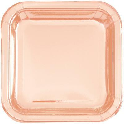 Rose Gold Square Paper Plates Birthday Wedding Hen Party Disposable Tableware